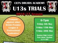 Cefn Druids Academy – U13s Trials