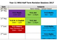 Whit Half Term Revision Sessions